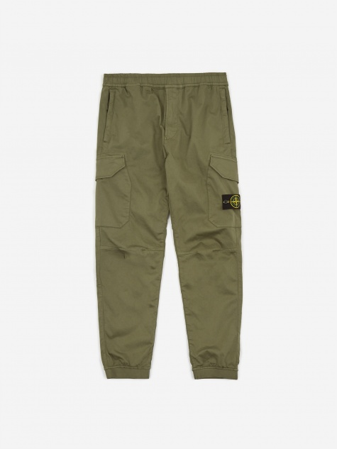 Stretch Cotton Wool Trouser - Olive