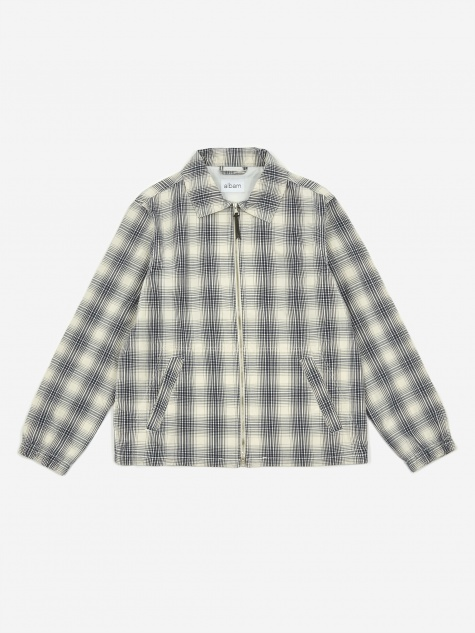 Over Dye Check Harrington Jacket - Ecru