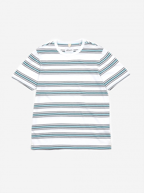 Heritage Stripe Shortsleeve T-Shirt - White/Light Blue/Nav