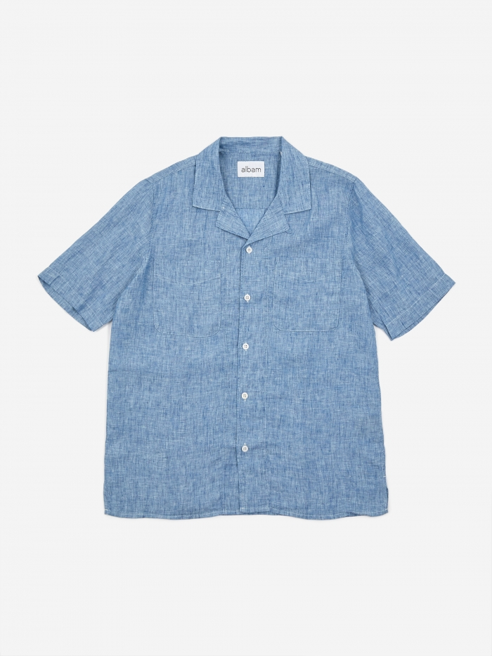 Albam Revere Collar Shortsleeve Shirt - Light Blue (Image 1)
