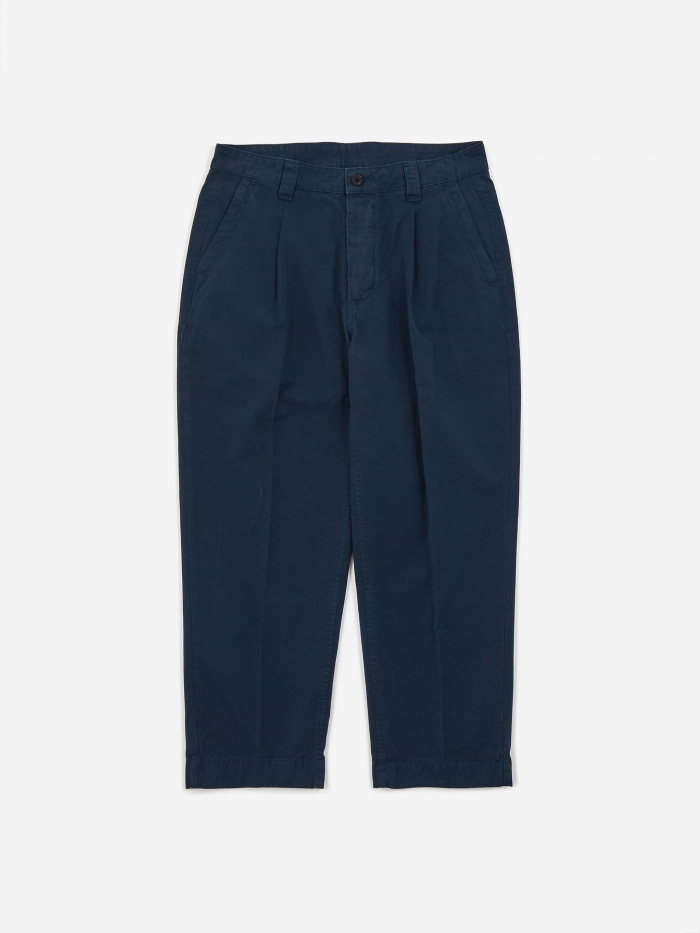 Albam GD Ripstop Pleated Trouser - Navy (Image 1)