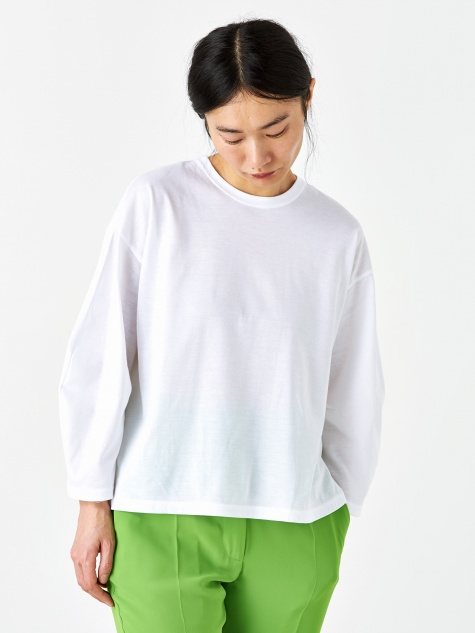 Coated Jersey Round Neck Top - White