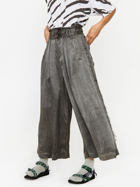 Pigment Satin Wide Leg Trouser - Dark Grey