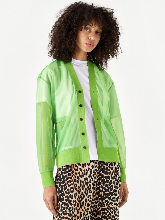 TOGA PULLA Shiny Jersey Cardigan - Light Green (Image 1)