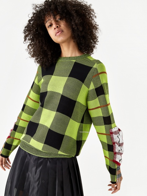 PULLA Check Knit Pullover Jumper - Green