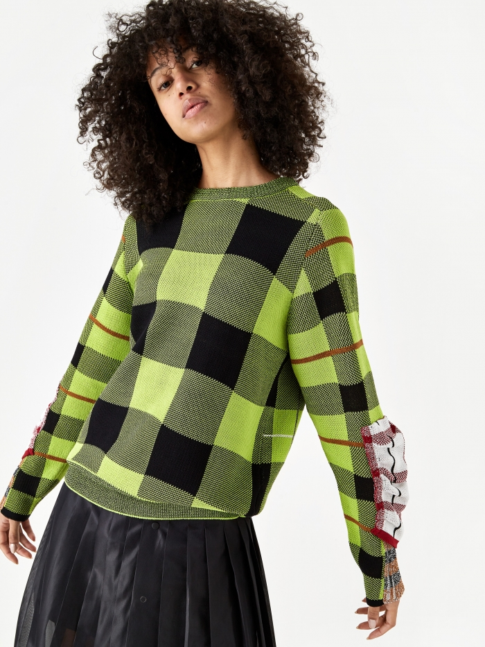 TOGA PULLA Check Knit Pullover Jumper - Green (Image 1)