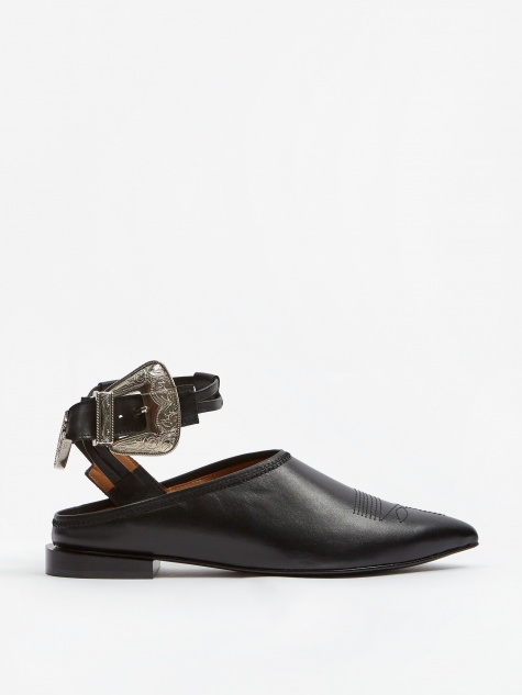 PULLA Ankle Buckle Shoe - Black/Black