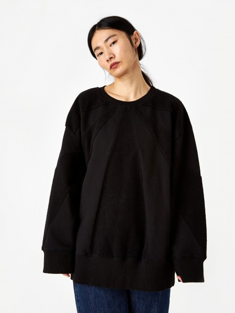 Textured Oversized Sweatshirt - Black