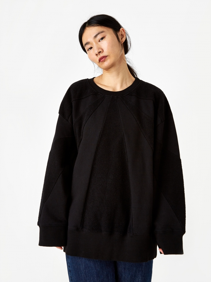 MM6 Maison Margiela Textured Oversized Sweatshirt - Black (Image 1)
