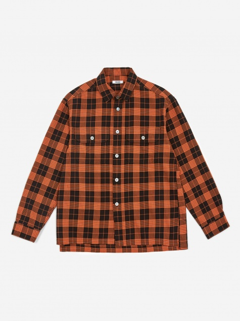 Tres Bien Plaid Over Shirt - Black/Orange