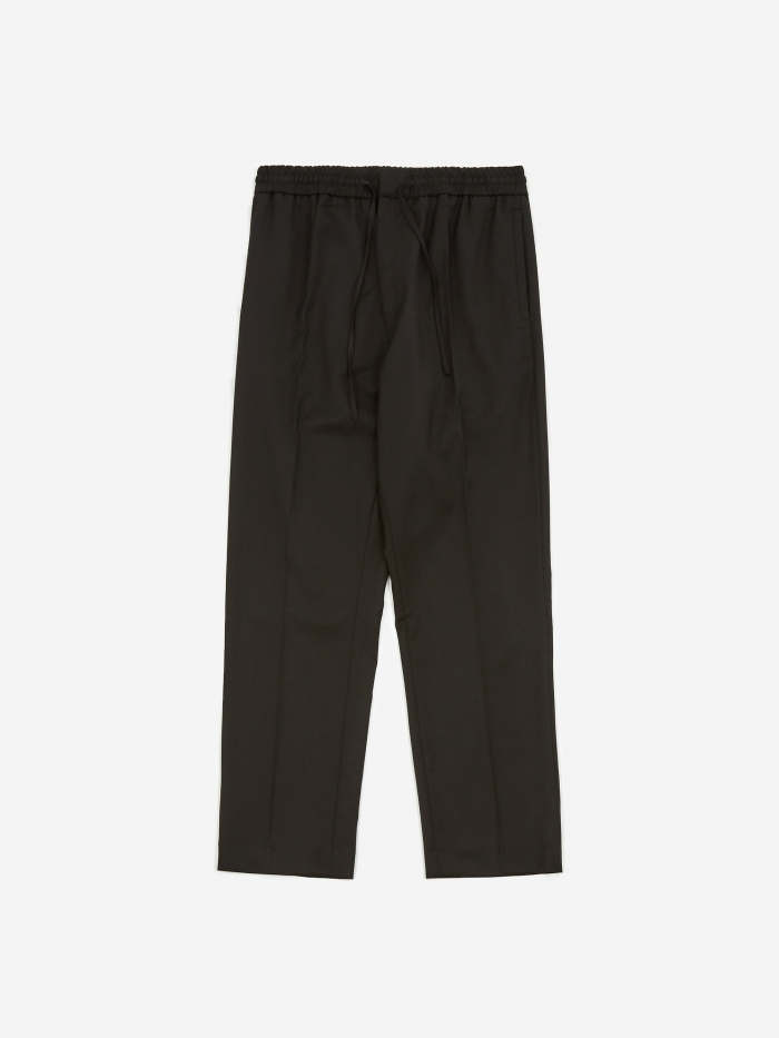 CMMN SWDN Stan Tapered Drawstring Trouser - Black (Image 1)