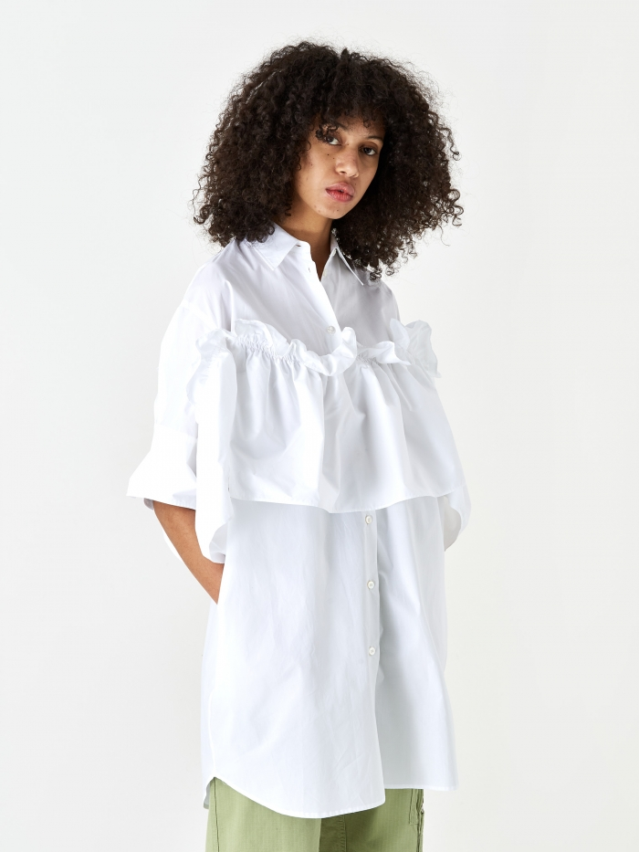 MM6 Maison Margiela Frill Shirt - White (Image 1)