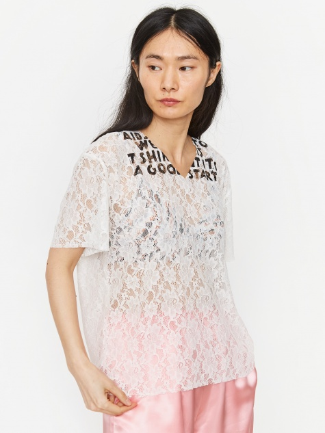 Jacquard Lace Printed Shirt - Off White