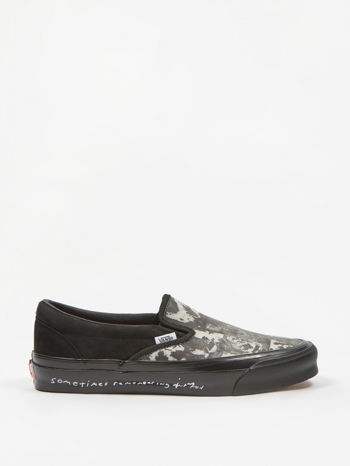Vans Vault x Jim Goldberg OG Classic Slip-On LX - Black Wall (Image 1)
