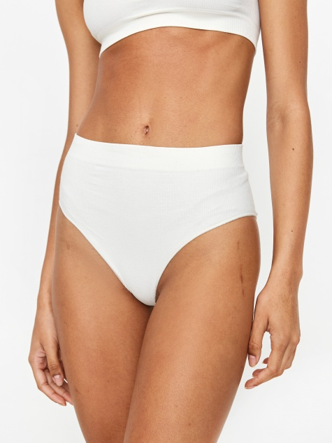 Les Girl Les Boy Rib Highwaisted Brief - Ivory