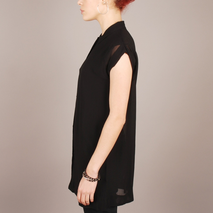Surface To Air Short Sleeve Slit Blouse - Black (Image 1)