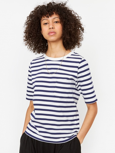 Sailor Cadet Stripe Sailor T-Shirt - White/Navy