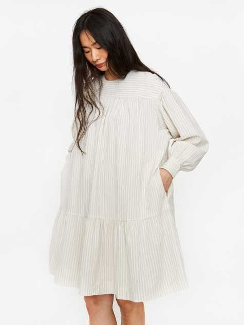 Dina Dress - Off White Stripe