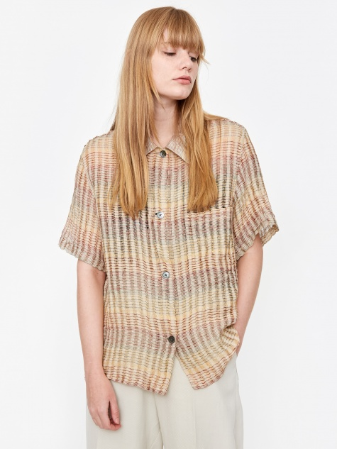 Short Sleeve Square Shirt - Red Stripe Structure