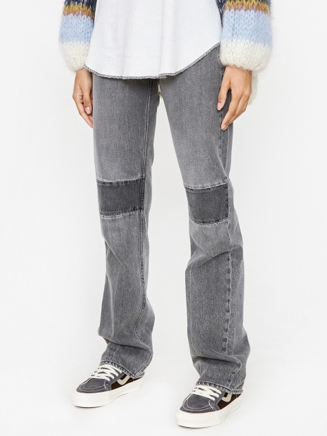Extended Linear Cut Jean - Black/Grey