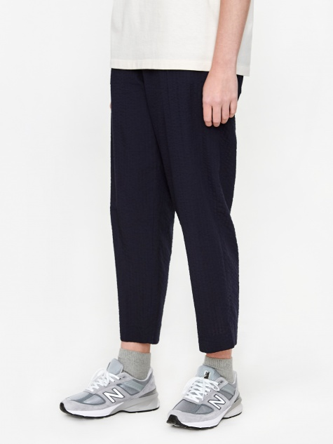 Nine Cropped Seersucker Trouser - Dark Navy