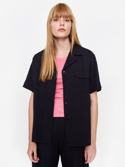 Hermine Seersucker Shirt - Dark Navy