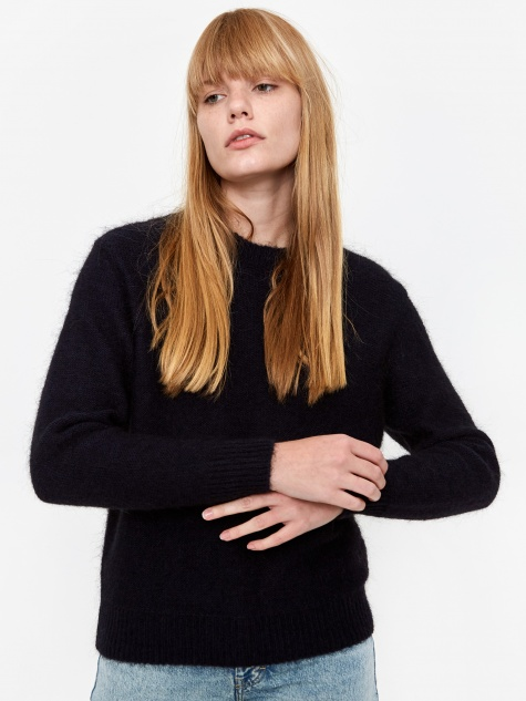 Aslaug Brushed Jumper - Dark Navy