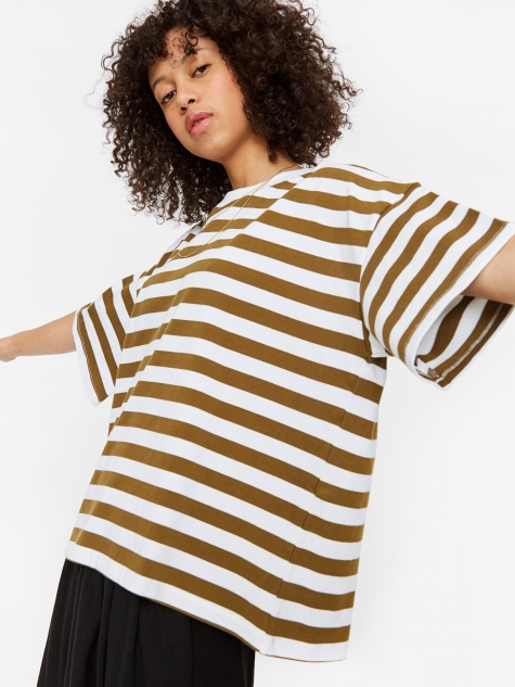 Oversized Stripe Boxy T-Shirt - Khaki/White