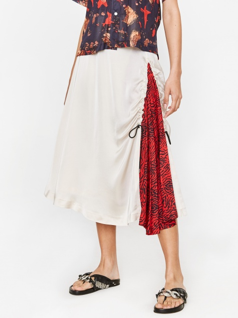 PULLA Acetate Satin Skirt - White