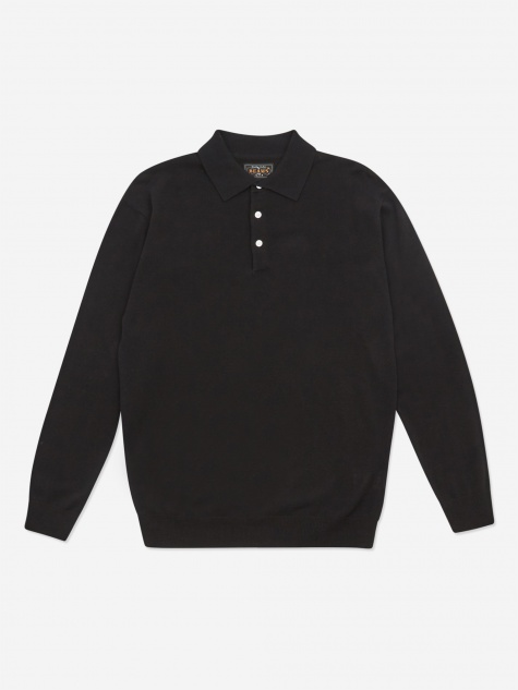 Knit Cotton 12G Polo Shirt - Black