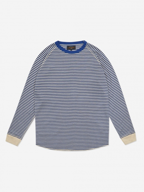 Rib Border Crewneck Sweatshirt - Blue