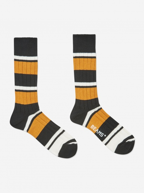 Multi Border Sock - Yellow/Black/Off White