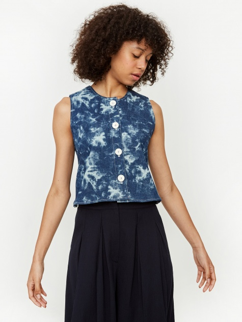 Acid Wash Denim String Top - Deep Blue