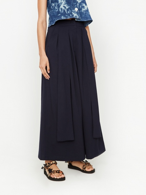 Suspender Wide Leg Trouser - Navy