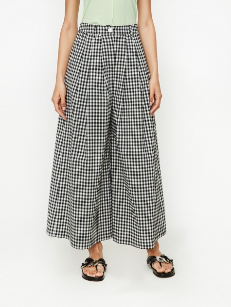 Button Detail 3 Tuck Wide Leg Trouser - Black Gingham