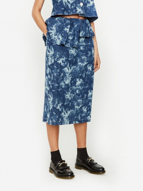 Acid Wash Denim Ruffle Skirt - Deep Blue