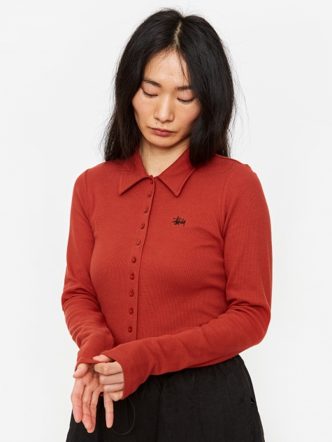 Maya Longsleeve Button Down - Brick
