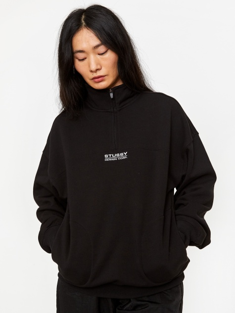 Mock Neck Half Zip Sweatshirt - Black