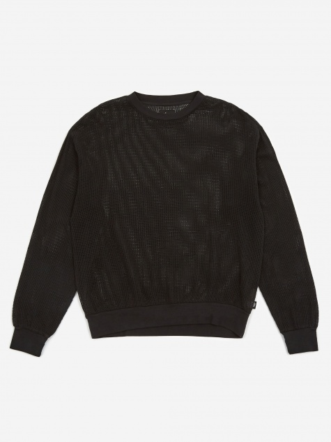 Pigment Dyed Cotton Mesh Crewneck Sweatshirt - Black