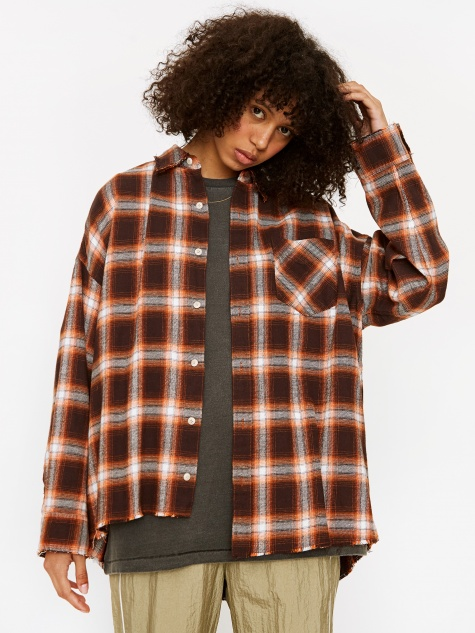 Oversized Check Shirt - Orange