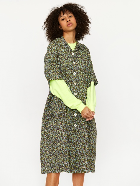 Oversized Print Shirt Dress - Green