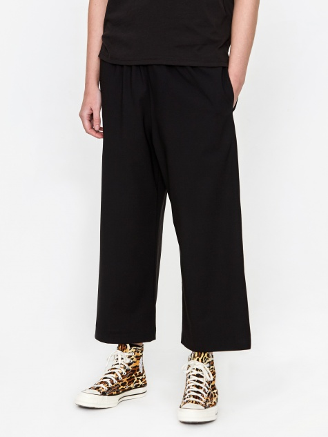 Wide Leg Pull On Trouser - Black