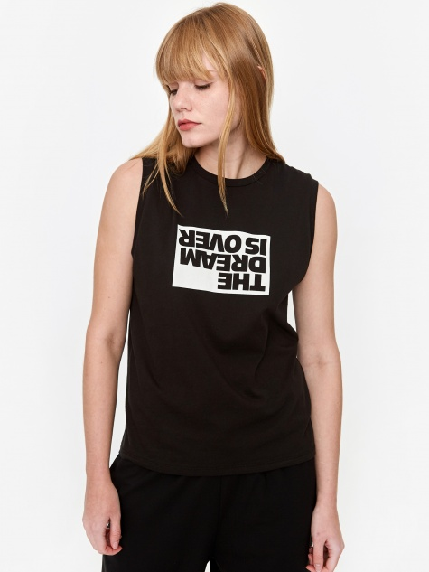 Dream Sleeveless Muscle Top - Black