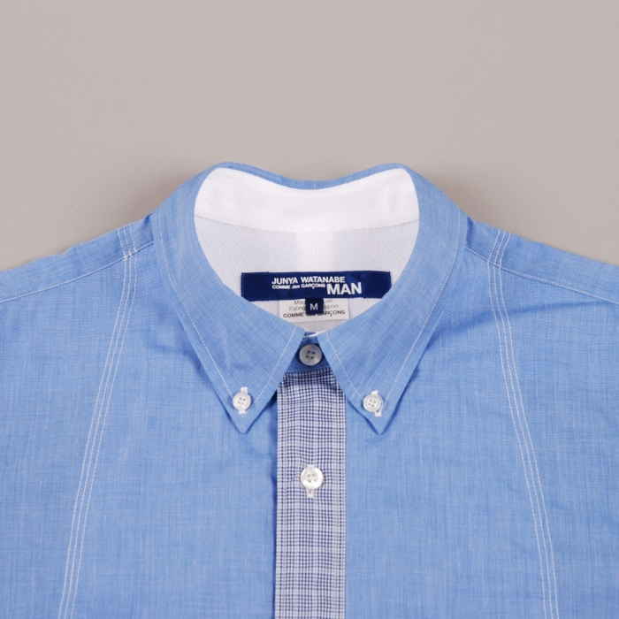 Junya Watanabe Man Check Placket Shirt - Blue (Image 1)