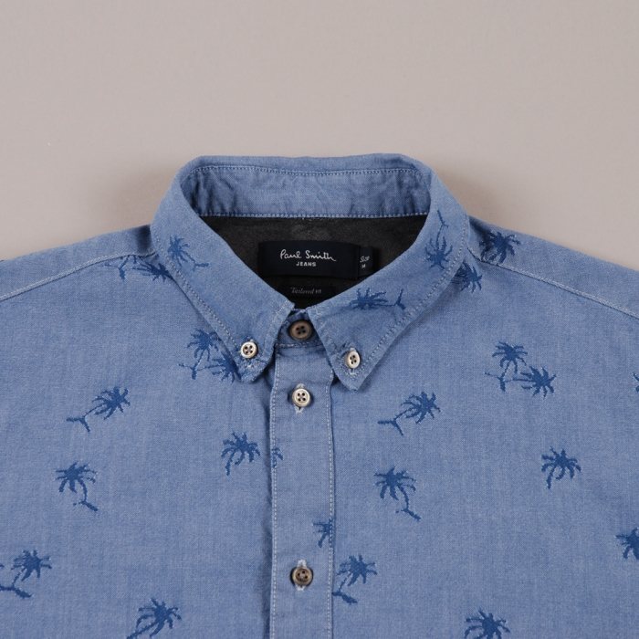 Paul Smith Palm Tree Jacquard Shirt L/S - Blue Indigo (Image 1)