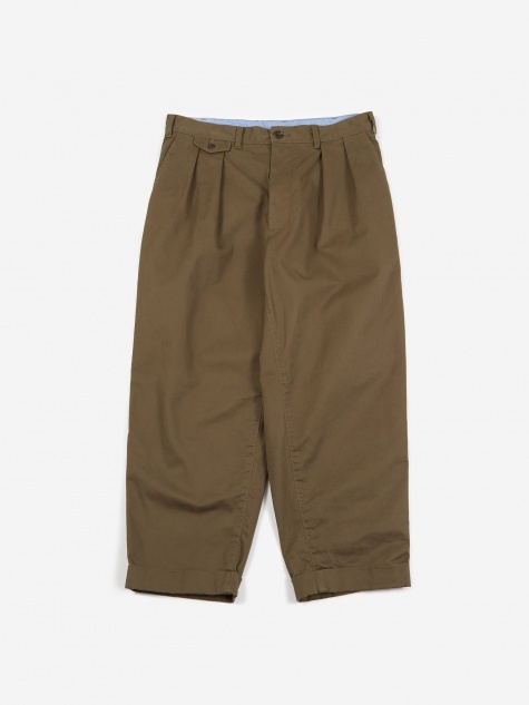 2 Pleats Twill Trouser - Olive