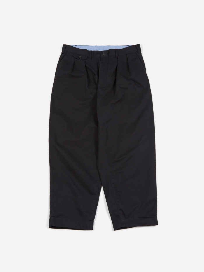 Beams Plus 2 Pleats Twill Trouser - Black (Image 1)