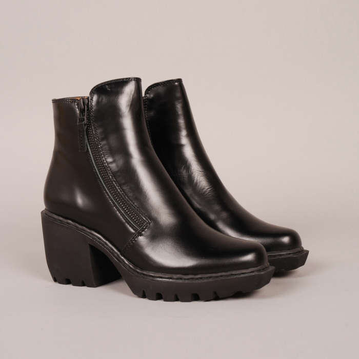 Opening Ceremony Grunge Double Zip Boot - Black Calf (Image 1)