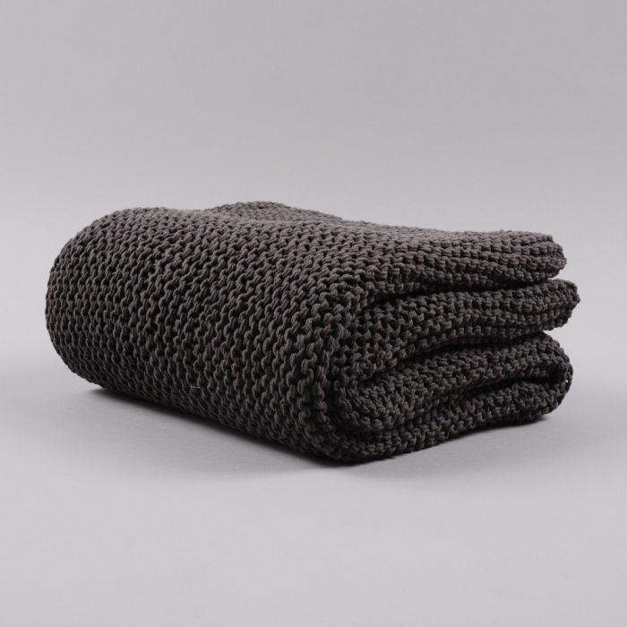Broste Knit Throw - Dark Grey (Image 1)