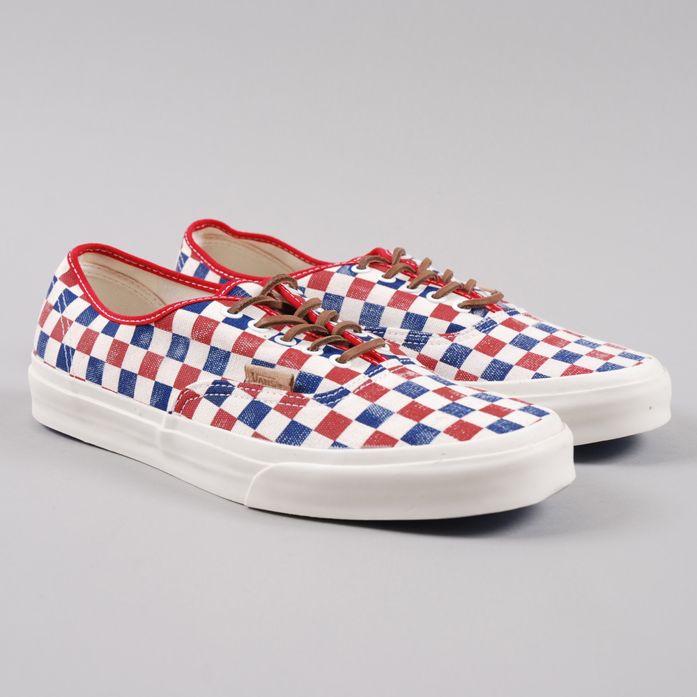 vans checkerboard blue red